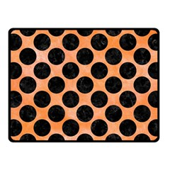 Circles2 Black Marble & Orange Watercolor Fleece Blanket (small) by trendistuff