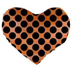 Circles2 Black Marble & Orange Watercolor Large 19  Premium Heart Shape Cushions by trendistuff