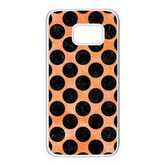 Circles2 Black Marble & Orange Watercolor Samsung Galaxy S7 White Seamless Case