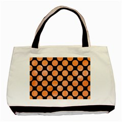 Circles2 Black Marble & Orange Watercolor (r) Basic Tote Bag (two Sides) by trendistuff