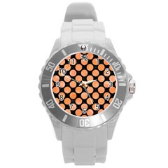 Circles2 Black Marble & Orange Watercolor (r) Round Plastic Sport Watch (l) by trendistuff