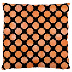 Circles2 Black Marble & Orange Watercolor (r) Large Flano Cushion Case (one Side) by trendistuff