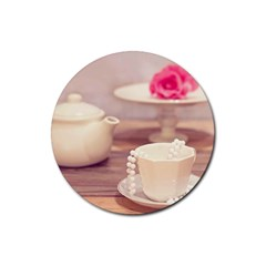 High Tea, Shabby Chic Rubber Coaster (round)  by 8fugoso