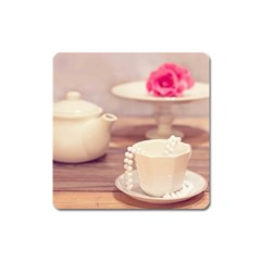 High Tea, Shabby Chic Square Magnet by 8fugoso