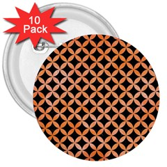 Circles3 Black Marble & Orange Watercolor (r) 3  Buttons (10 Pack)  by trendistuff