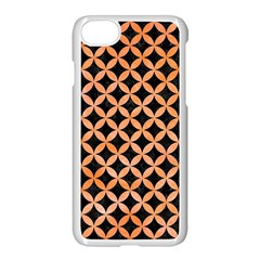 Circles3 Black Marble & Orange Watercolor (r) Apple Iphone 7 Seamless Case (white) by trendistuff