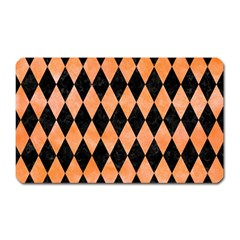 Diamond1 Black Marble & Orange Watercolor Magnet (rectangular) by trendistuff