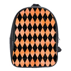 Diamond1 Black Marble & Orange Watercolor School Bag (large) by trendistuff