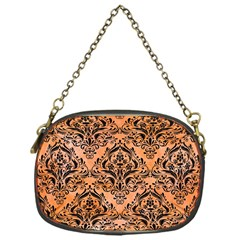 Damask1 Black Marble & Orange Watercolor Chain Purses (one Side)  by trendistuff