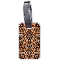 Damask2 Black Marble & Orange Watercolor Luggage Tags (one Side)  by trendistuff