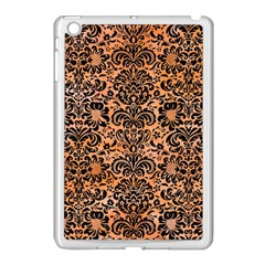 Damask2 Black Marble & Orange Watercolor Apple Ipad Mini Case (white) by trendistuff