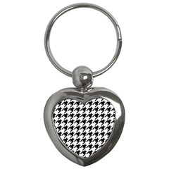 Classic Vintage Black And White Houndstooth Pattern Key Chain (heart) by Beachlux
