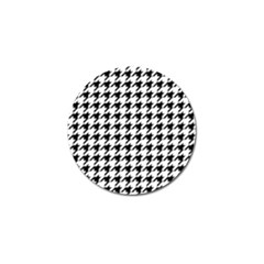 Classic Vintage Black And White Houndstooth Pattern Golf Ball Marker (10 Pack) by Beachlux