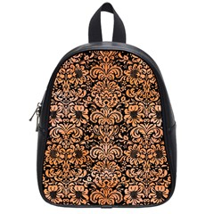 Damask2 Black Marble & Orange Watercolor (r) School Bag (small) by trendistuff