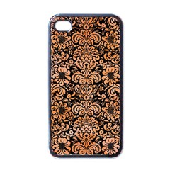 Damask2 Black Marble & Orange Watercolor (r) Apple Iphone 4 Case (black) by trendistuff