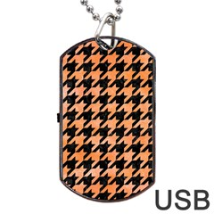 Houndstooth1 Black Marble & Orange Watercolor Dog Tag Usb Flash (one Side) by trendistuff