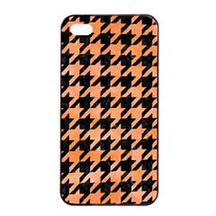 Houndstooth1 Black Marble & Orange Watercolor Apple Iphone 4/4s Seamless Case (black) by trendistuff