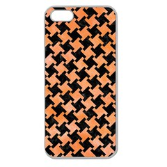 Houndstooth2 Black Marble & Orange Watercolor Apple Seamless Iphone 5 Case (clear) by trendistuff