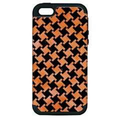 Houndstooth2 Black Marble & Orange Watercolor Apple Iphone 5 Hardshell Case (pc+silicone) by trendistuff