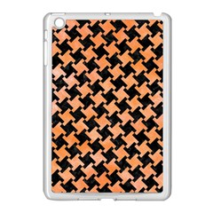 Houndstooth2 Black Marble & Orange Watercolor Apple Ipad Mini Case (white) by trendistuff