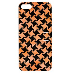 Houndstooth2 Black Marble & Orange Watercolor Apple Iphone 5 Hardshell Case With Stand by trendistuff