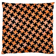 Houndstooth2 Black Marble & Orange Watercolor Large Flano Cushion Case (two Sides) by trendistuff