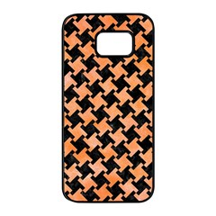 Houndstooth2 Black Marble & Orange Watercolor Samsung Galaxy S7 Edge Black Seamless Case