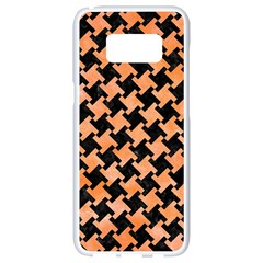 Houndstooth2 Black Marble & Orange Watercolor Samsung Galaxy S8 White Seamless Case by trendistuff