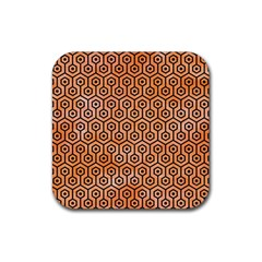 Hexagon1 Black Marble & Orange Watercolor Rubber Square Coaster (4 Pack)  by trendistuff