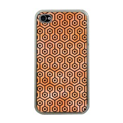 Hexagon1 Black Marble & Orange Watercolor Apple Iphone 4 Case (clear) by trendistuff