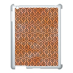 Hexagon1 Black Marble & Orange Watercolor Apple Ipad 3/4 Case (white) by trendistuff