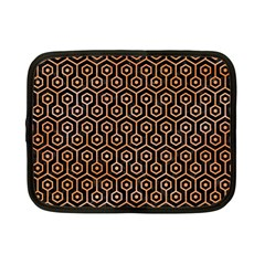 Hexagon1 Black Marble & Orange Watercolor (r) Netbook Case (small)  by trendistuff