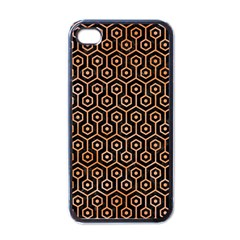 Hexagon1 Black Marble & Orange Watercolor (r) Apple Iphone 4 Case (black) by trendistuff