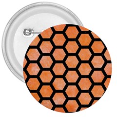Hexagon2 Black Marble & Orange Watercolor 3  Buttons by trendistuff