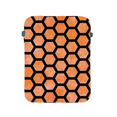 Hexagon2 Black Marble & Orange Watercolor Apple Ipad 2/3/4 Protective Soft Cases by trendistuff