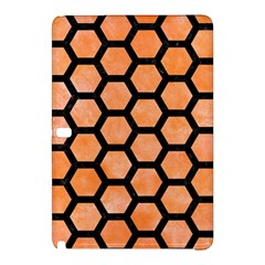 Hexagon2 Black Marble & Orange Watercolor Samsung Galaxy Tab Pro 12 2 Hardshell Case by trendistuff
