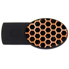 Hexagon2 Black Marble & Orange Watercolor (r) Usb Flash Drive Oval (2 Gb) by trendistuff