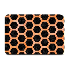 Hexagon2 Black Marble & Orange Watercolor (r) Plate Mats by trendistuff