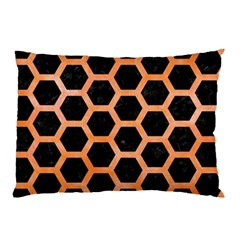 Hexagon2 Black Marble & Orange Watercolor (r) Pillow Case (two Sides) by trendistuff