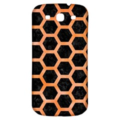 Hexagon2 Black Marble & Orange Watercolor (r) Samsung Galaxy S3 S Iii Classic Hardshell Back Case by trendistuff