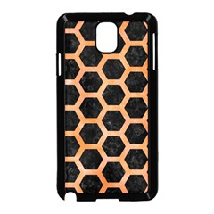 Hexagon2 Black Marble & Orange Watercolor (r) Samsung Galaxy Note 3 Neo Hardshell Case (black) by trendistuff