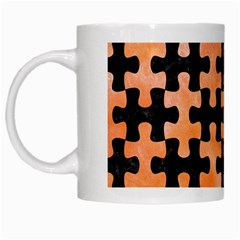 Puzzle1 Black Marble & Orange Watercolor White Mugs by trendistuff