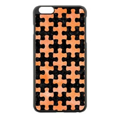 Puzzle1 Black Marble & Orange Watercolor Apple Iphone 6 Plus/6s Plus Black Enamel Case