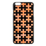 PUZZLE1 BLACK MARBLE & ORANGE WATERCOLOR Apple iPhone 6 Plus/6S Plus Black Enamel Case Front
