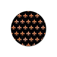 Royal1 Black Marble & Orange Watercolor Rubber Round Coaster (4 Pack)  by trendistuff