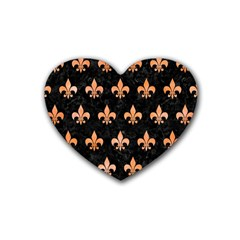 Royal1 Black Marble & Orange Watercolor Rubber Coaster (heart)  by trendistuff