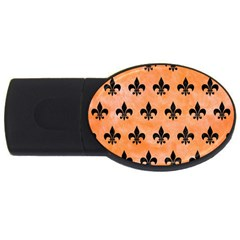 Royal1 Black Marble & Orange Watercolor (r) Usb Flash Drive Oval (4 Gb) by trendistuff