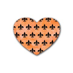 Royal1 Black Marble & Orange Watercolor (r) Rubber Coaster (heart)  by trendistuff