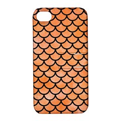 Scales1 Black Marble & Orange Watercolor Apple Iphone 4/4s Hardshell Case With Stand by trendistuff