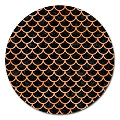 Scales1 Black Marble & Orange Watercolor (r) Magnet 5  (round) by trendistuff